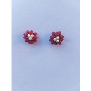 Flower Four Leaf Stud Earrings (Dark Pink)