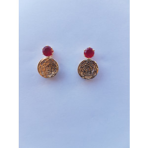 Crystal Hollow Rose Stud Earrings (Gold-Red)
