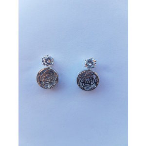 Crystal Hollow Rose Stud Earrings (Silver)