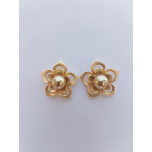 Little Flower Stud Earrings With Pearl (Yellow)