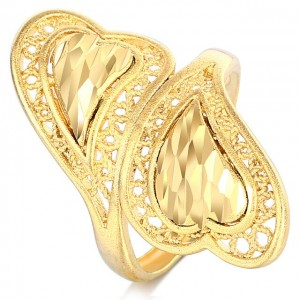 Double Heart Gold Color Ring