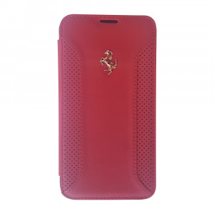 Ferrari real leather booktype case for samsung S5 red