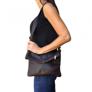 Genuine Leather Foldover Bag | Convertible Messenger & Clutch