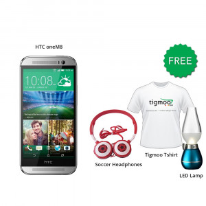 HTC one M8 16GB (Silver) With Free Soccer headphones + Tigmoo Tshirt & Led Bulb