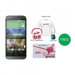 HTC one M8 16GB (Grey) With Free Soccer headphones + Tigmoo Tshirt & Led Bulb+Shoprite Voucher
