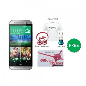 HTC one M8 16GB (Silver) With Free Soccer headphones + Tigmoo Tshirt & Led Bulb+Shoprite Voucher