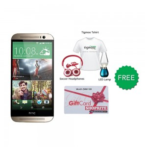 HTC one M8 16GB (Gold) With Free Soccer headphones + Tigmoo Tshirt & Led Bulb+ Shoprite Voucher