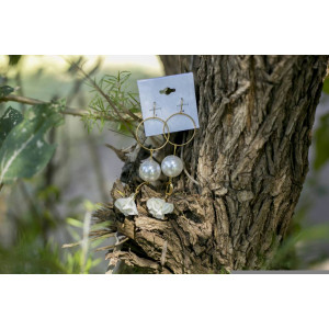 Pearl Drop Earrings (White-Gold)