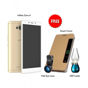 Infinix Zero 4 32 GB (Gold) With Free Fish Eye Lens, Smart Cover & Led Bulb