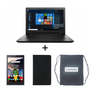 "Lenovo IdeaPad 110 Black 80T7005BSA Notebook, Lenovo TB3-710I 7"" Tablet with Voice Calling,  Laptop Carry Bag and Tablet Cover"
