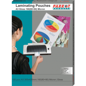 Laminating Pouches (A3, Gloss, 305x426mm, 160 (80+80) Microns, Box 100)
