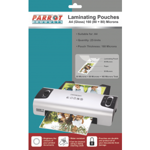 Laminating Pouches (A4, Gloss, 220x310mm, 160 (80+80) Microns, Pack 25)