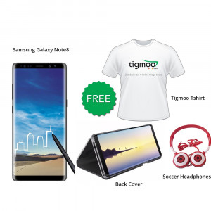 Samsung Galaxy Note8 64 GB (Midnight Black) With Free Back Cover + Tigmoo Tshirt & Soccer headphones