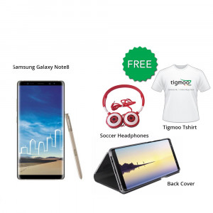 Samsung Galaxy Note8 64 GB (Maple Gold) With Free Back Cover + Tigmoo Tshirt & Soccer headphones