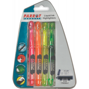 Parrot Liquid Ink Highlighters (Chisel Tip - Carded 4)