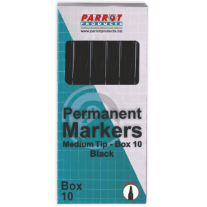 Parrot Permanent Markers Medium Box 10 Black