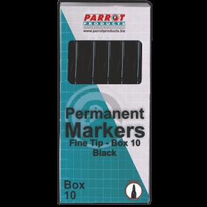Parrot Permanent Markers Fine Tip Box 10, Black