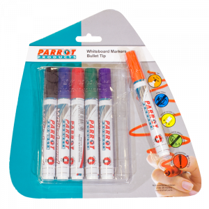 Parrot Whiteboard Marker Bullet Tip - Pouch Pack 6