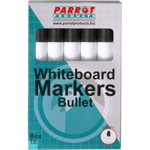 Parrot Whiteboard Markers (Bullet Tip - Box 10)