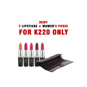 Remy 5 Lipsticks With Women Purse