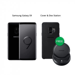 Samsung Galaxy S9 64 GB (Midnight Black) With Samsung Dex Station & Alcantara Cover