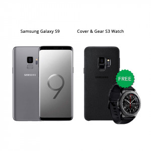 Samsung Galaxy S9 64 GB (Titanium Gray) With Samsung Gear S3 Watch & Alcantara Cover