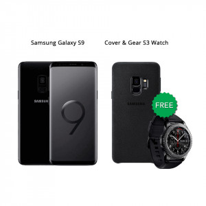 Samsung Galaxy S9 64 GB (Midnight Black) With Samsung Gear S3 Watch & Alcantara Cover