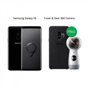 Samsung Galaxy S9 64 GB (Midnight Black) With Samsung Gear 360 Camera & Alcantara Cover