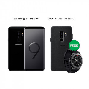 Samsung Galaxy S9 Plus 64 GB (Midnight Black) With Samsung Gear S3 Watch & Alcantara Cover