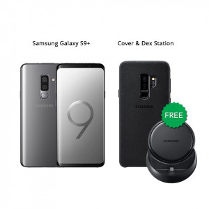 Samsung Galaxy S9 Plus 64 GB (Titanium Gray) With Samsung Dex Station & Alcantara Cover
