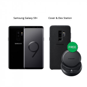 Samsung Galaxy S9 Plus 64 GB (Midnight Black) With Samsung Wireless Charger & Alcantara Cover