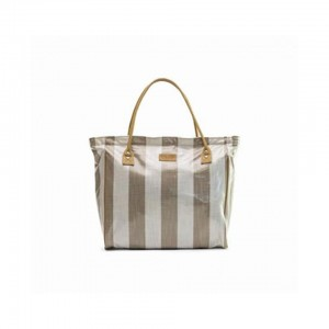 Emily Louise Shopper Bag - Stripe - Beige and White