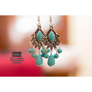 Silver And Artificial Turquoise Earring