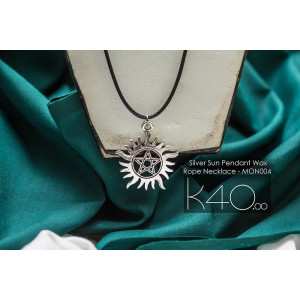 Silver Sun Pendant Wax Rope Necklace