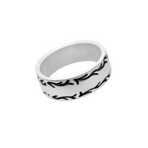 "Silver ""Ox Flame Design"" Wedding Band"