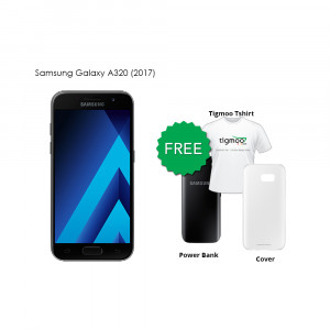 Samsung Galaxy A320 (2017) 16GB (Black) With Samsung Powerbank, Tigmoo Tshirt & Cover