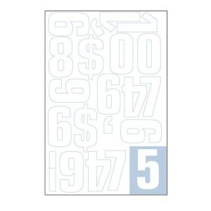 Parrot Vinyl Numerals Capitals 70MM (White)