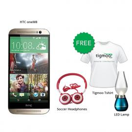 HTC one M8 16GB (Gold) With Free Soccer headphones + Tigmoo Tshirt & Led Bulb