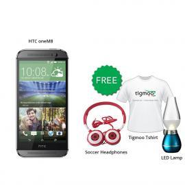 HTC one M8 16GB (Grey) With Free Soccer headphones + Tigmoo Tshirt & Led Bulb
