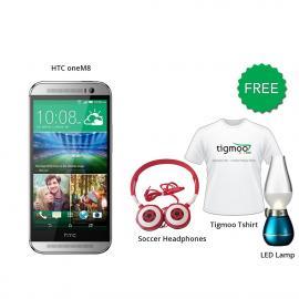 HTC one M8 16GB (Silver) With Free Soccer headphones + Tigmoo Tshirt & Led Bulb